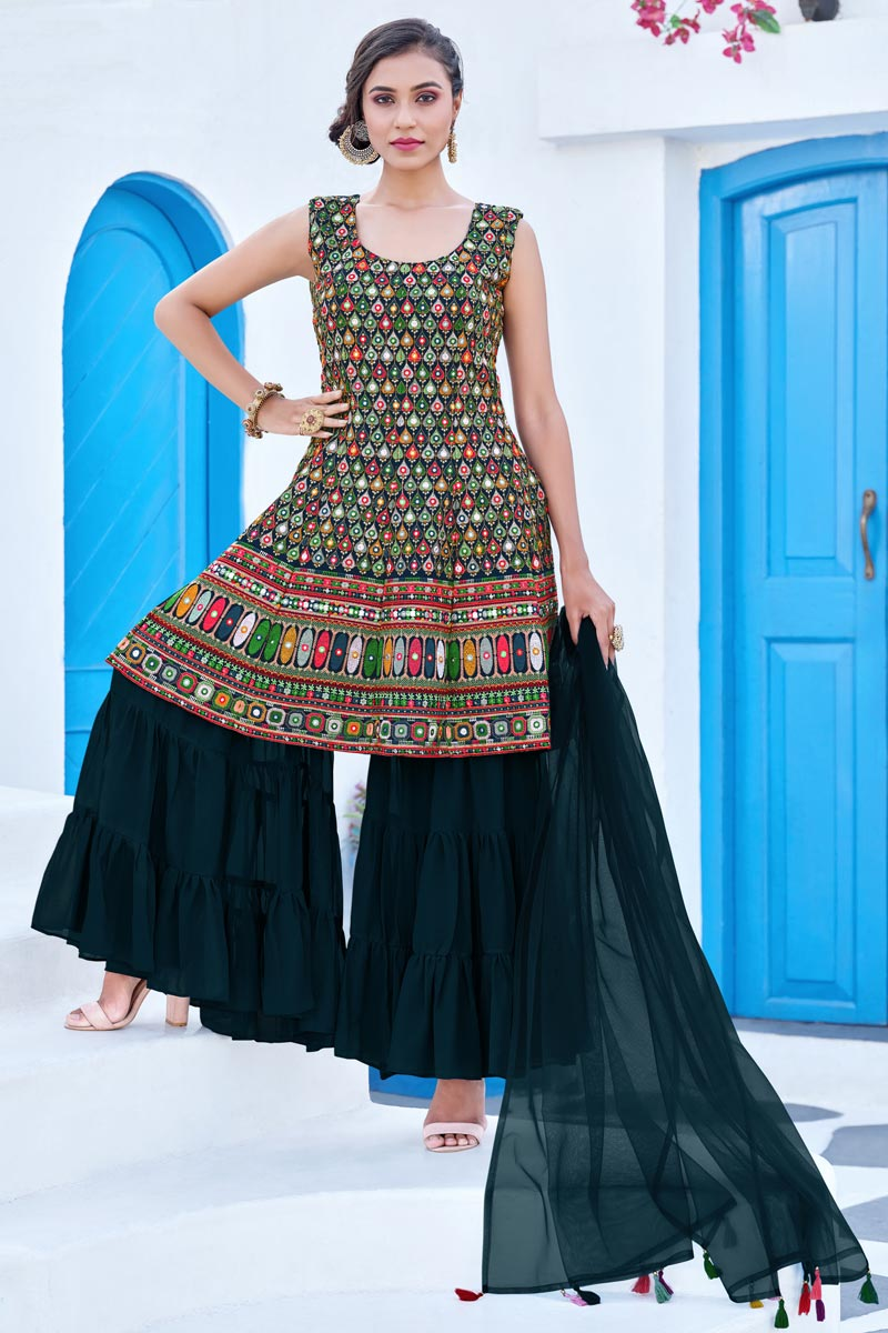 Multi Color Function Wear Embroidered Georgette Fabric Readymade Sharara Suit