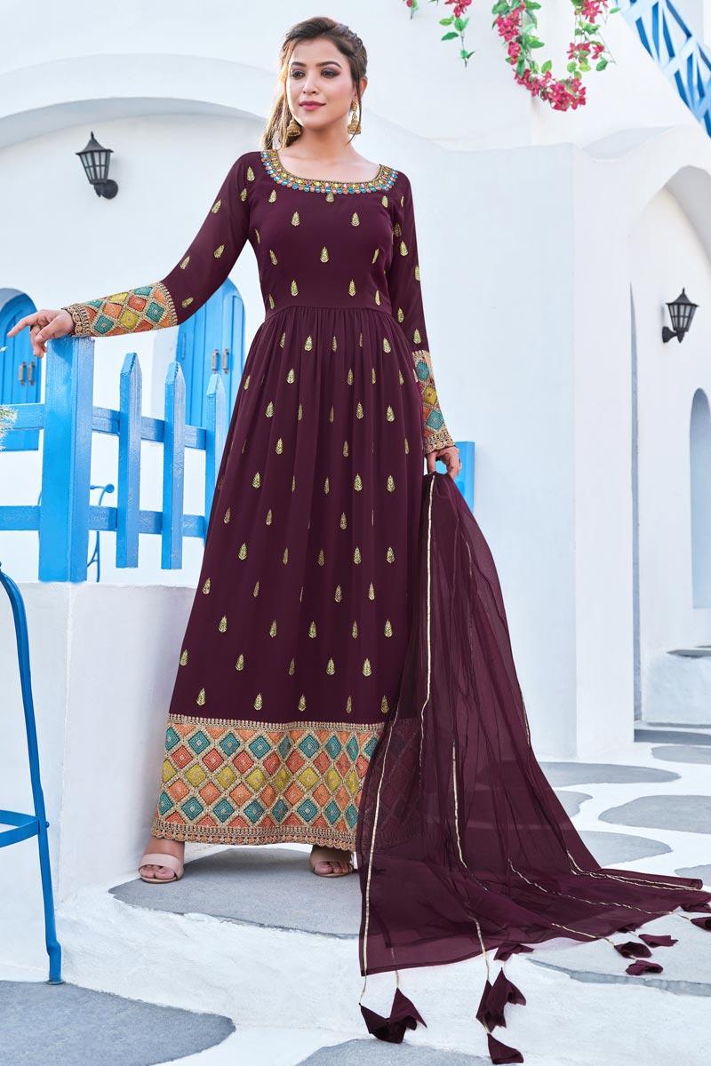Wine Color Festive Wear Embroidered Georgette Fabric Readymade Anarkali Salwar Kameez