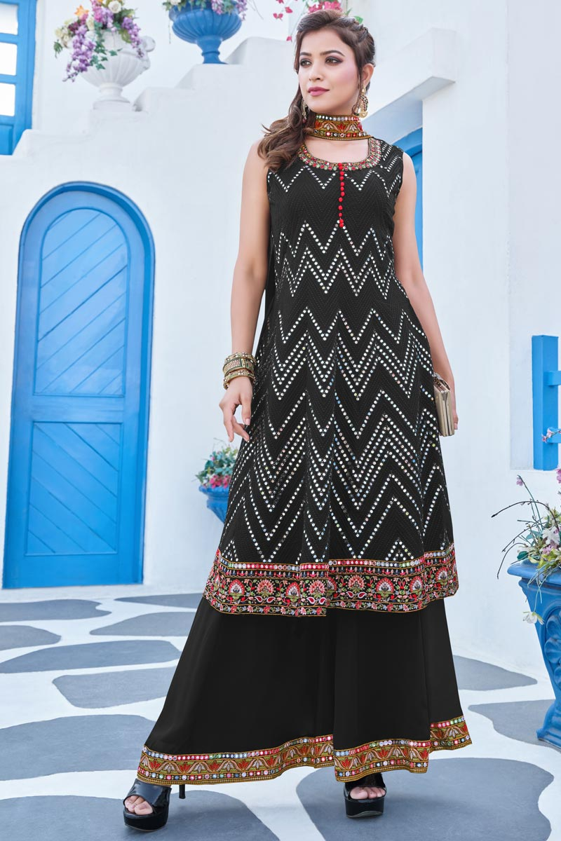 Black Color Georgette Fabric Party Style Embroidered Readymade Sharara Suit