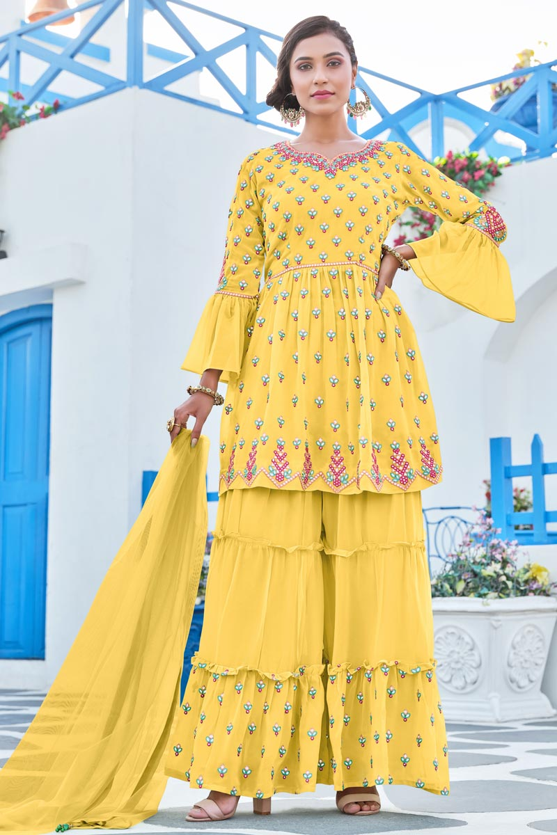 Georgette Fabric Function Wear Embroidered Readymade Sharara Suit In Yellow Color