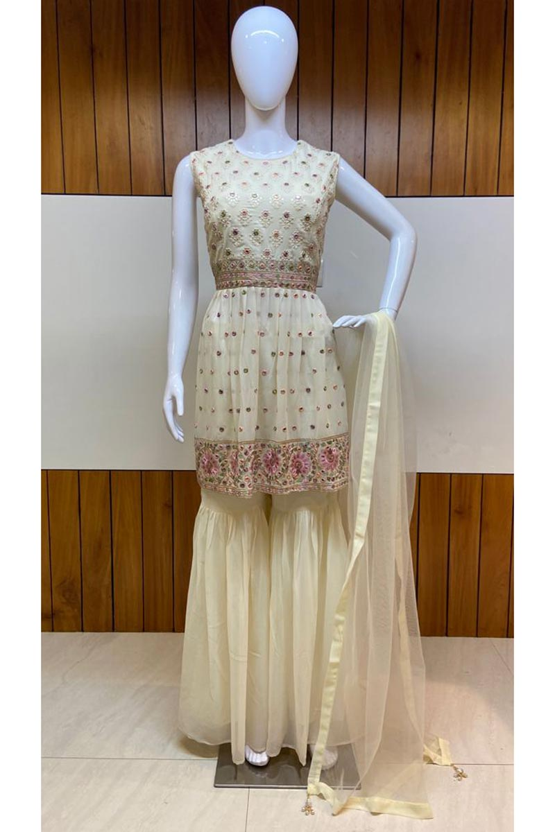 Festive Wear Georgette Fabric Beige Color Embroidered Readymade Sharara Suit