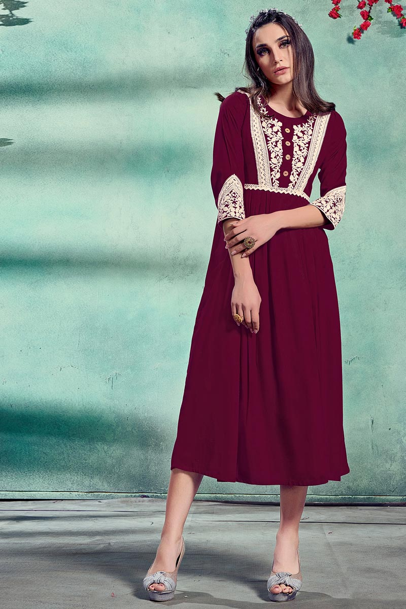 Festive Wear Fancy Wine Color Embroidered Kurti In Rayon Fabric