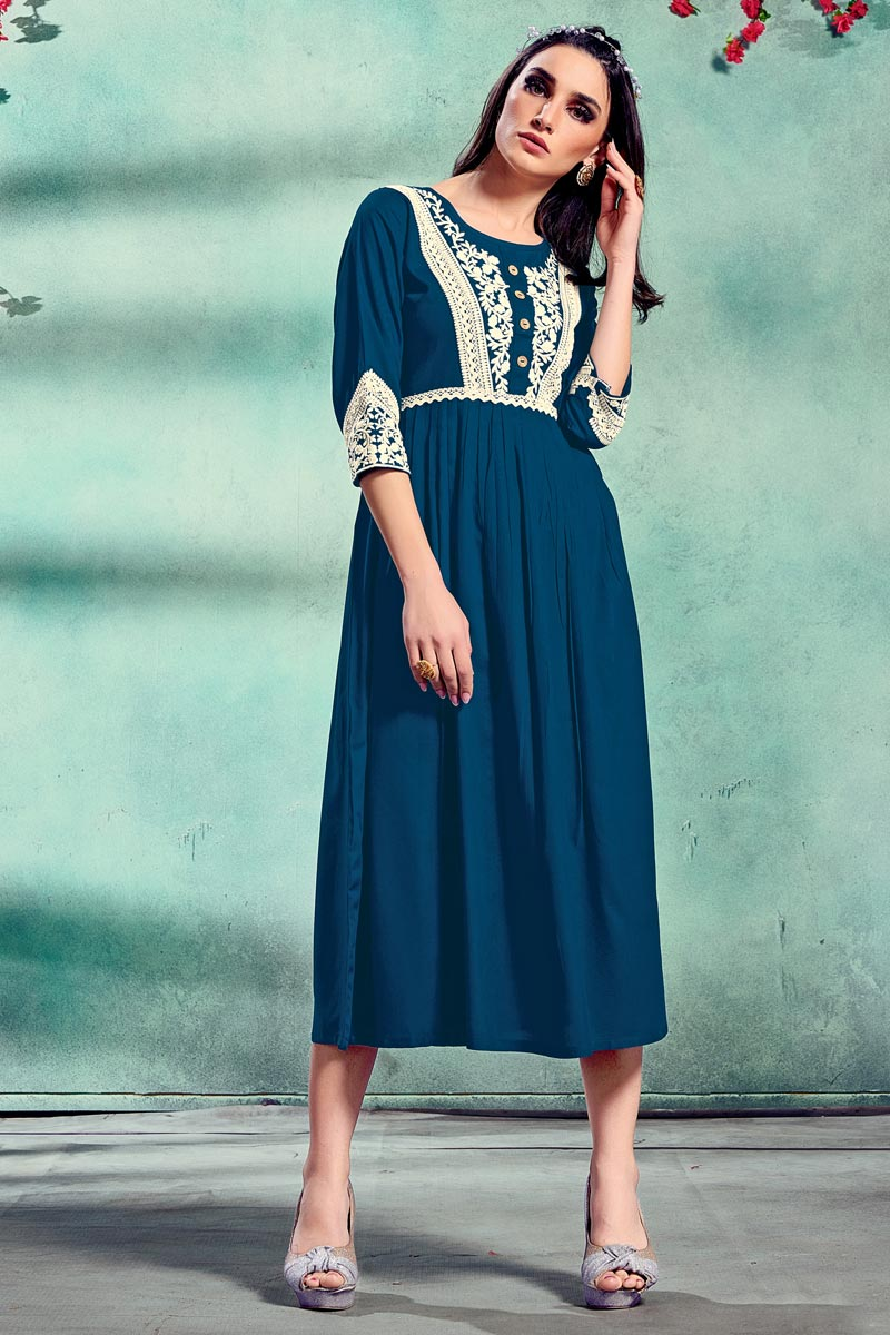Teal Color Fancy Rayon Fabric Festive Wear Embroidered Kurti