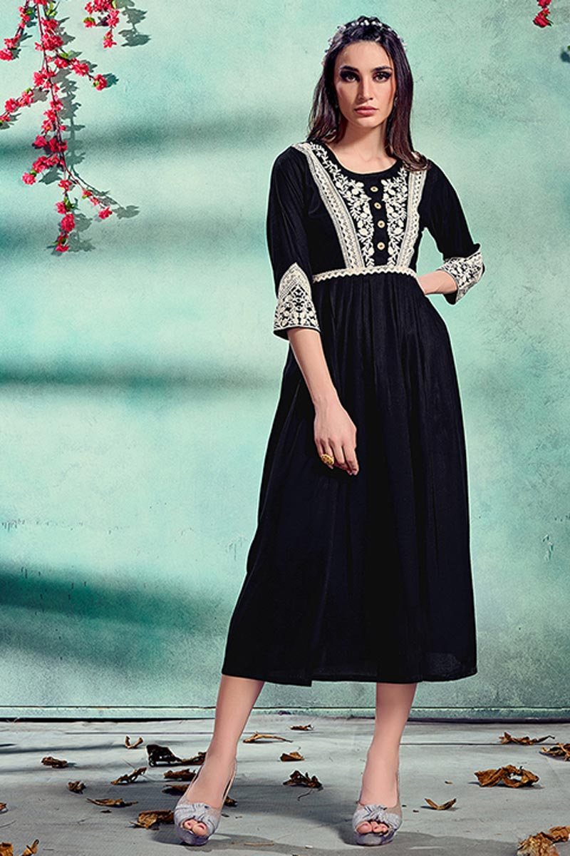 Black Color Festive Wear Rayon Fabric Fancy Embroidered Kurti