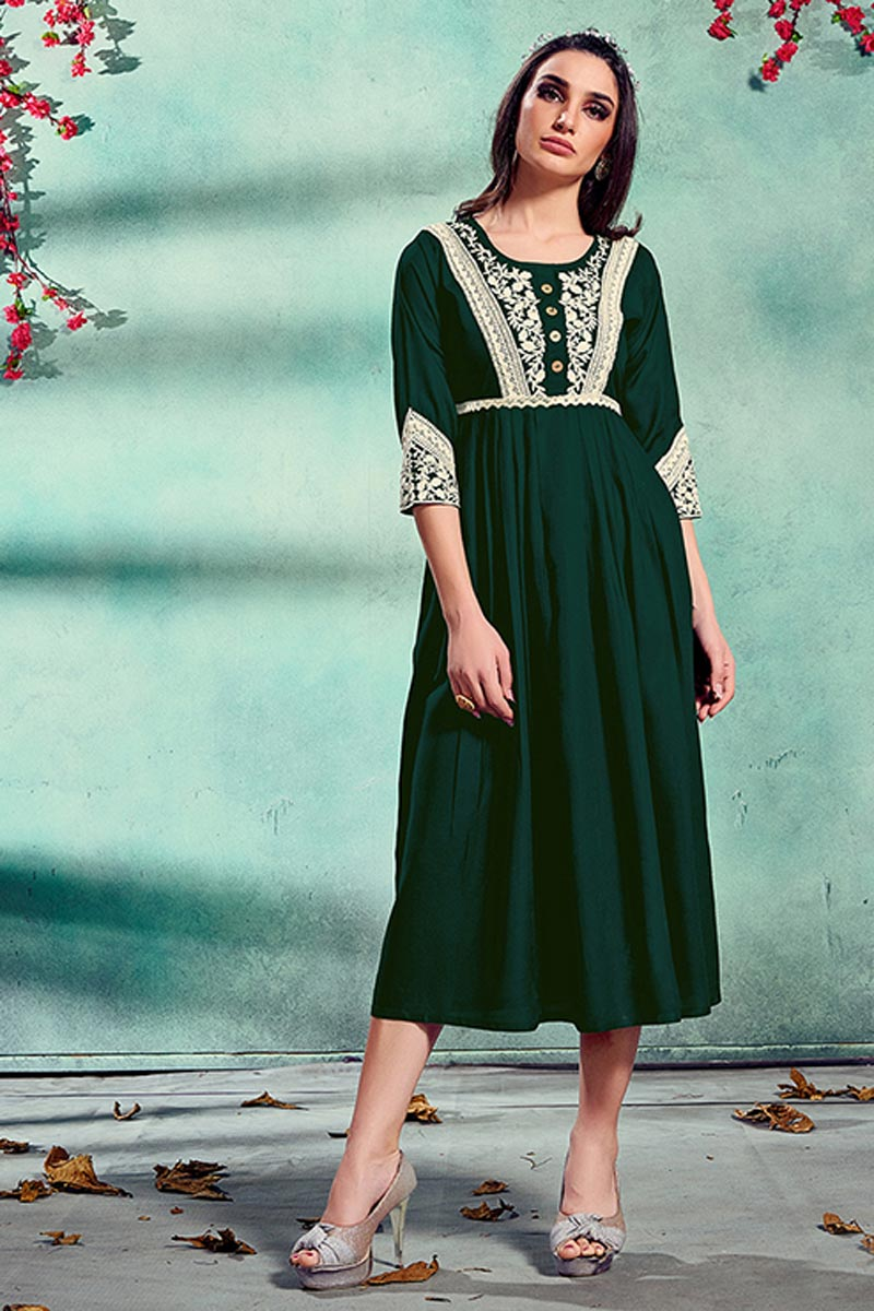 Fancy Festive Wear Dark Green Color Rayon Fabric Embroidered Kurti