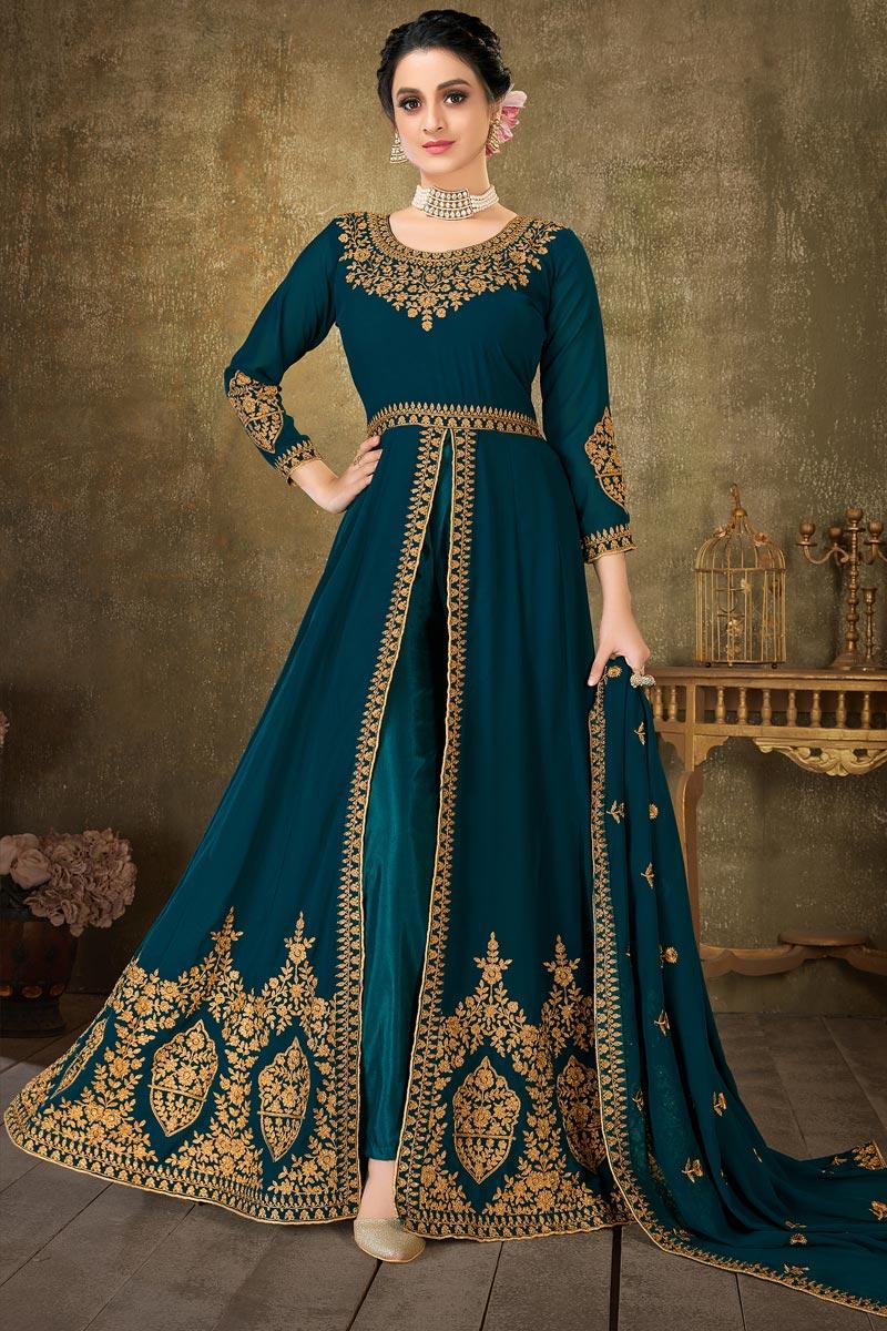 Teal Color Sangeet Wear Embroidered Floor Length Anarkali Dress In Georgette Fabric