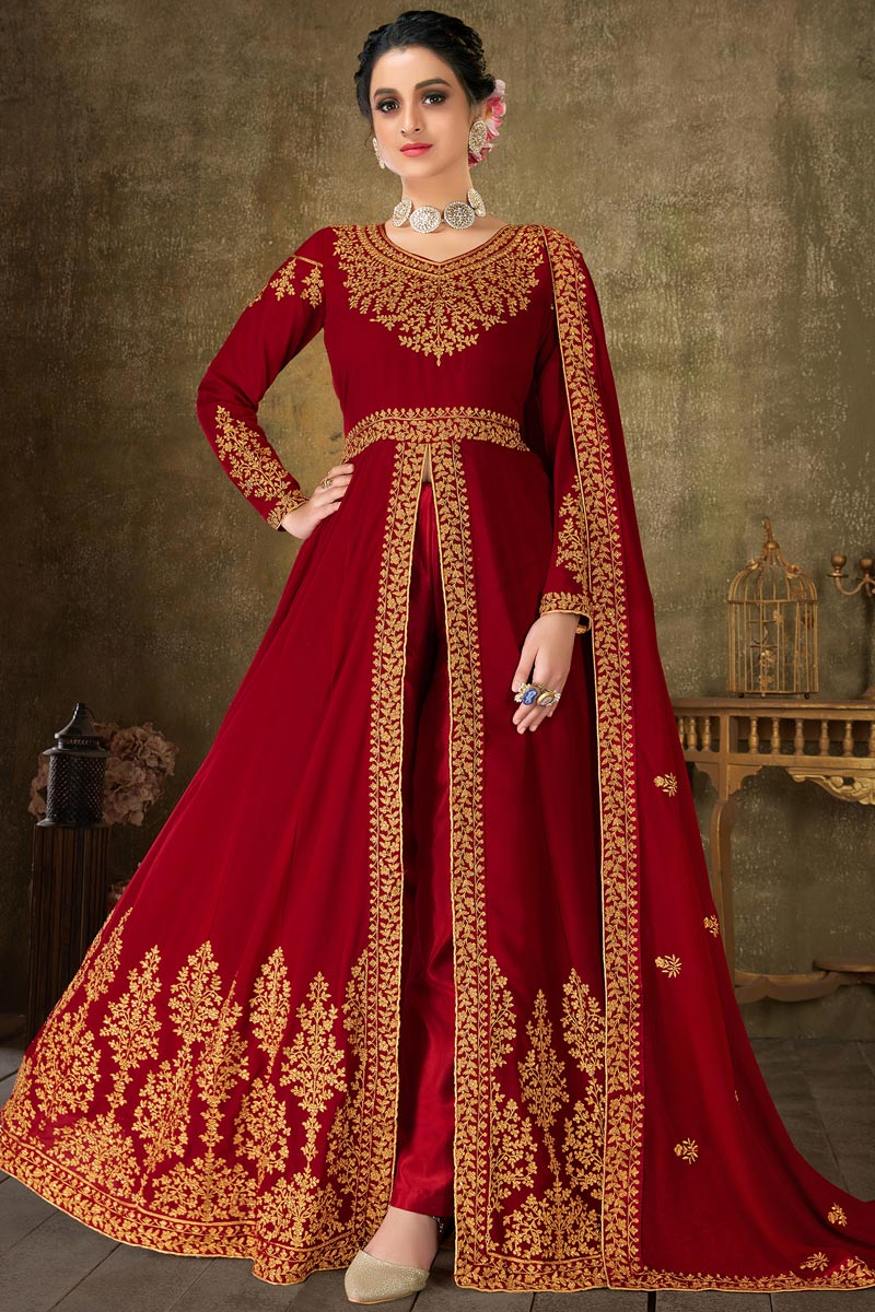 Sangeet Wear Maroon Color Georgette Fabric Embroidered Long Length Anarkali Suit