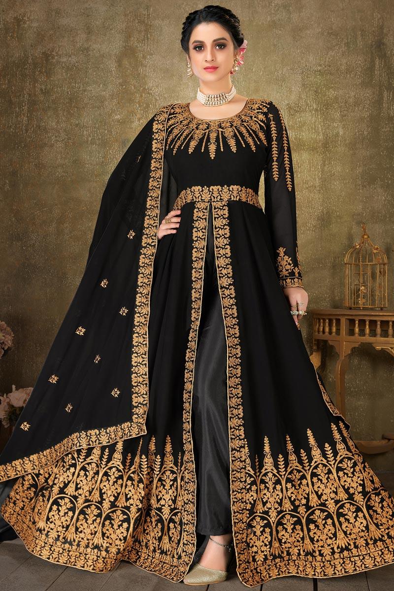Sangeet Wear Embroidered Black Color Floor Length Anarkali Dress In Georgette Fabric