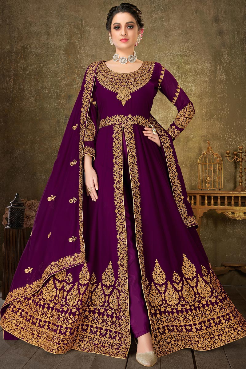 Georgette Fabric Sangeet Wear Purple Color Long Length Embroidered Anarkali Suit