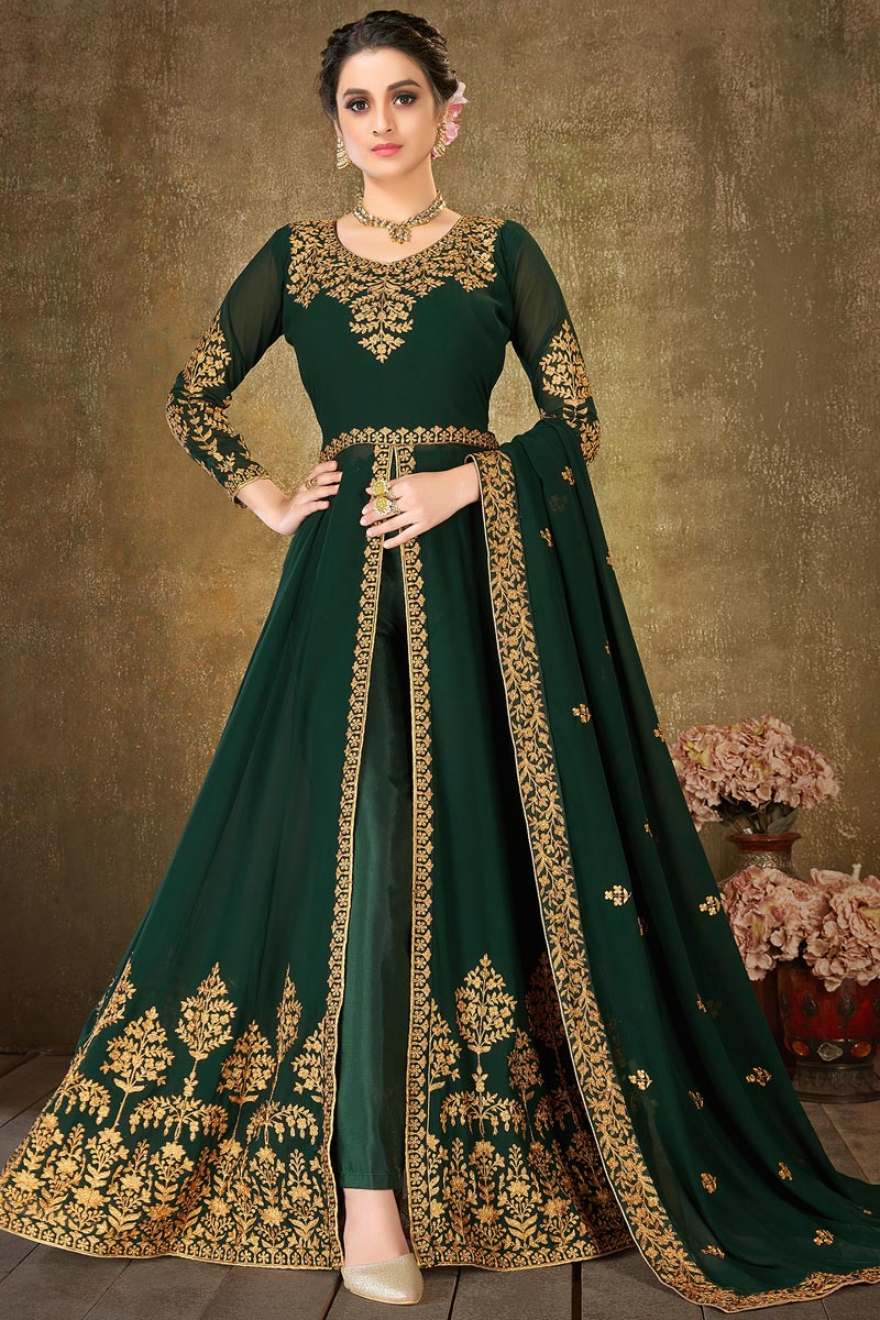 Dark Green Color Georgette Fabric Fancy Embroidery Work Festive Wear Floor Length Anarkali Suit