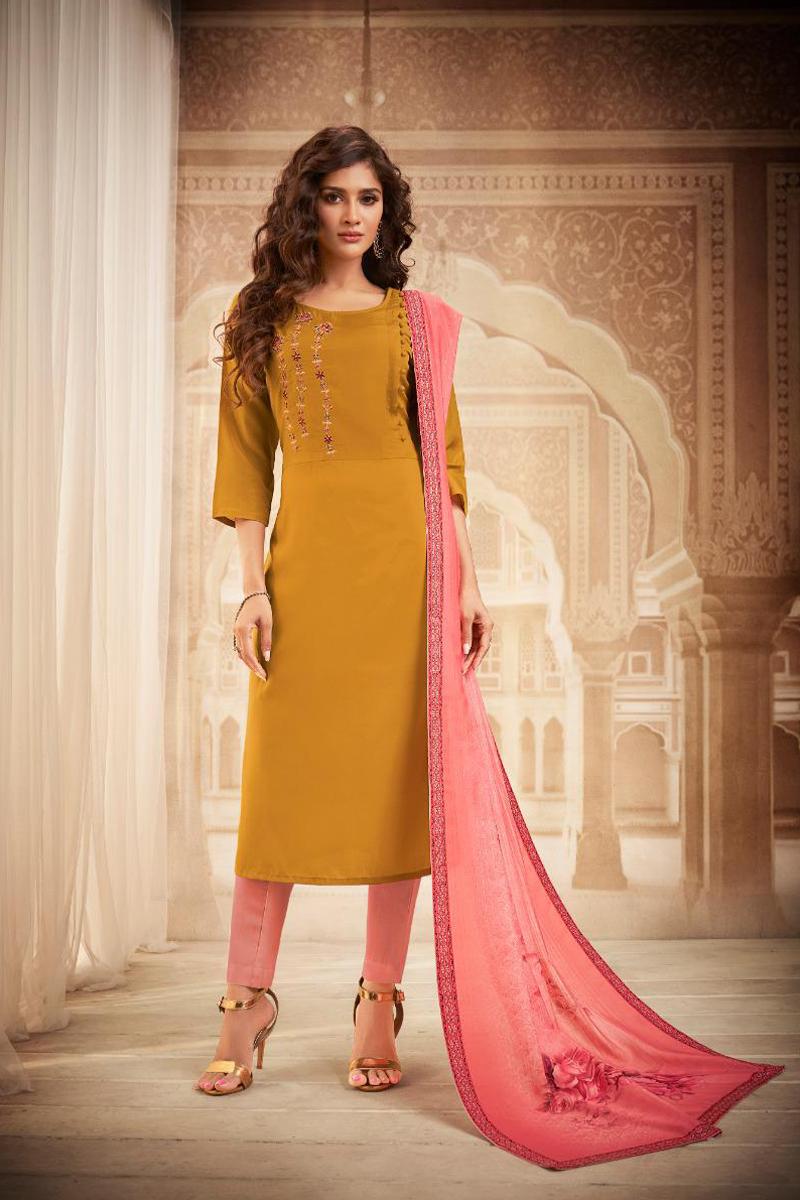 Mustard Color Embroidered Salwar Kameez In Fancy Fabric