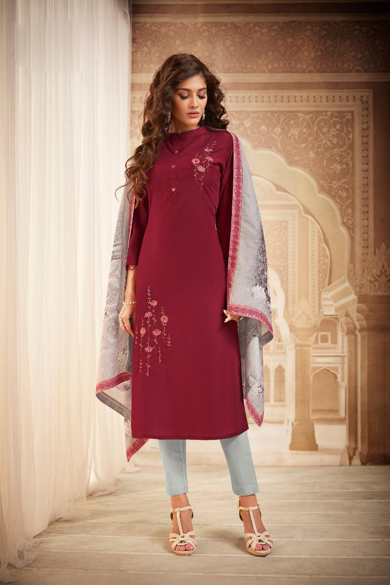 Fancy Fabric Casual Wear Salwar Suit In Maroon Color