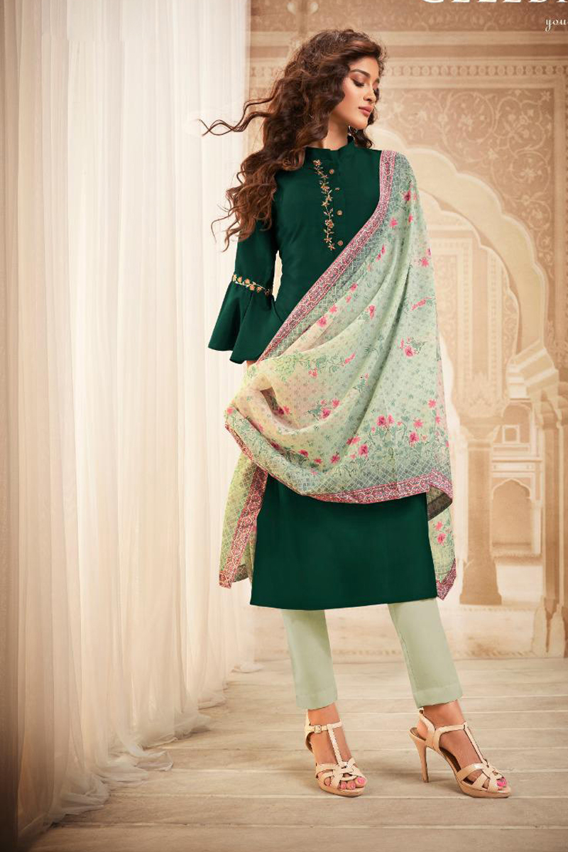 Dark Green Color Fancy Fabric Daily Wear Embroidered Suit
