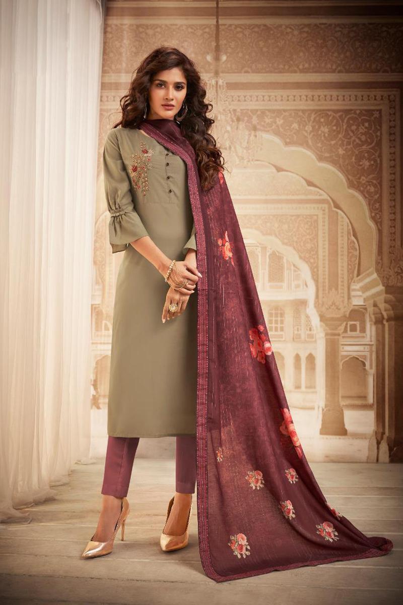 Casual Wear Dark Beige Color Embroidered Salwar Kameez In Fancy Fabric