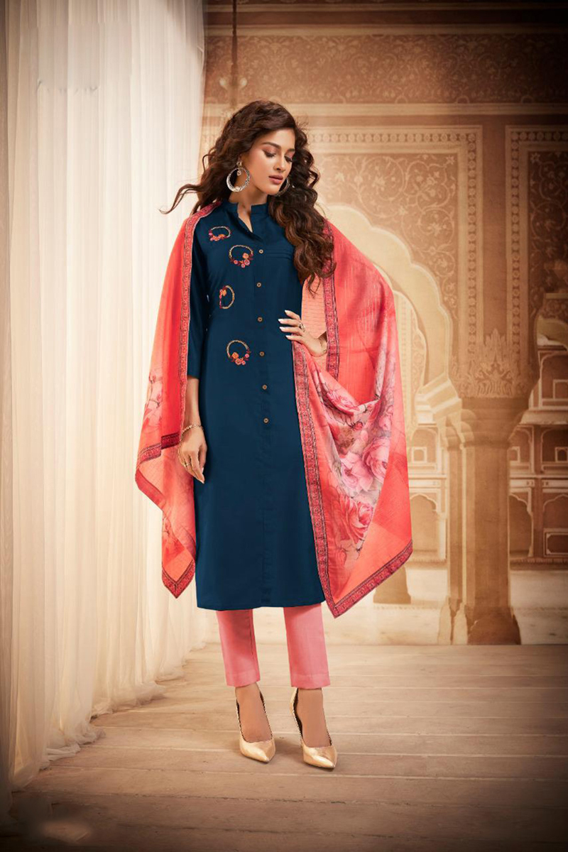 Embroidery Work Navy Blue Color Fancy Fabric Salwar Suit