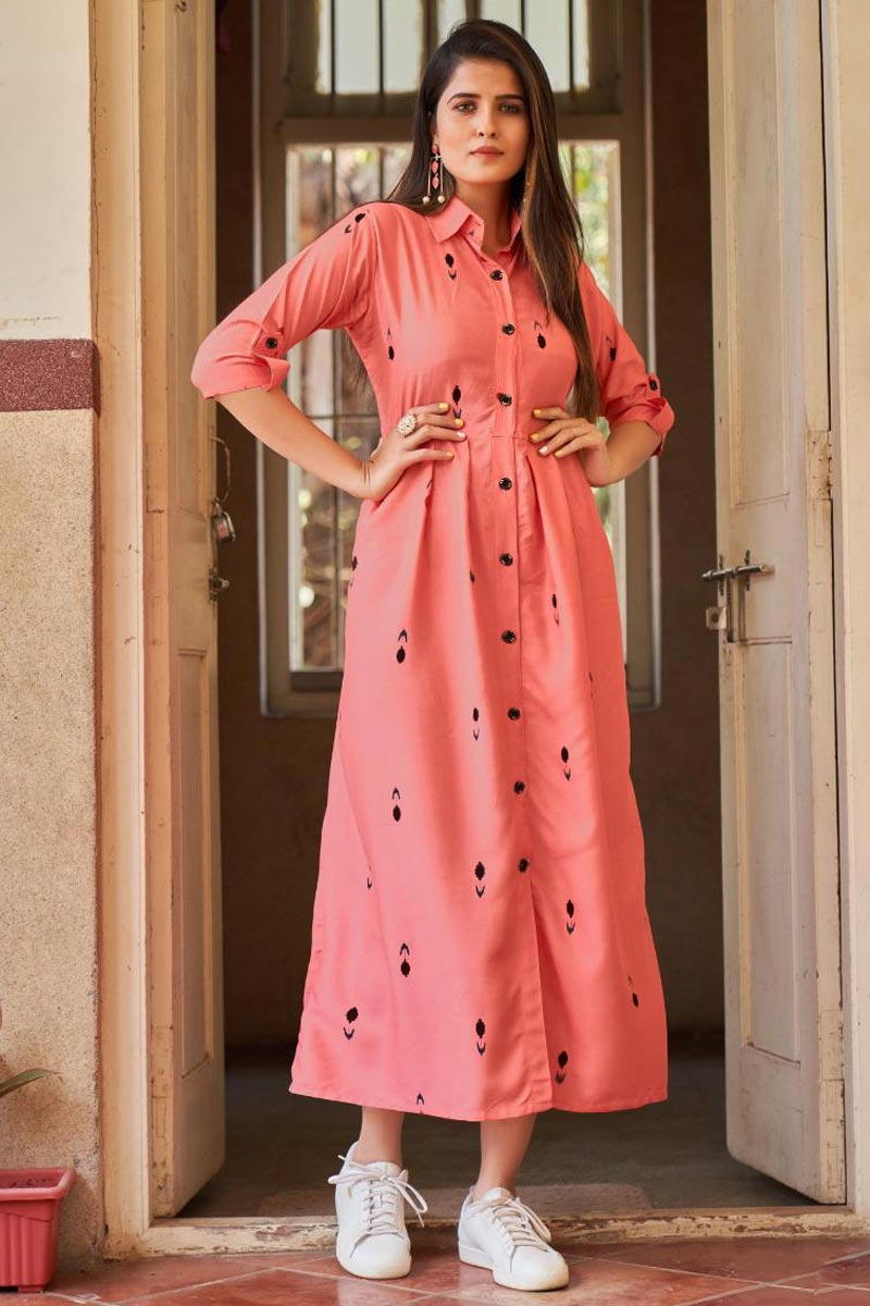 Party Style Designer Peach Color Rayon Fabric Western Style Kurti