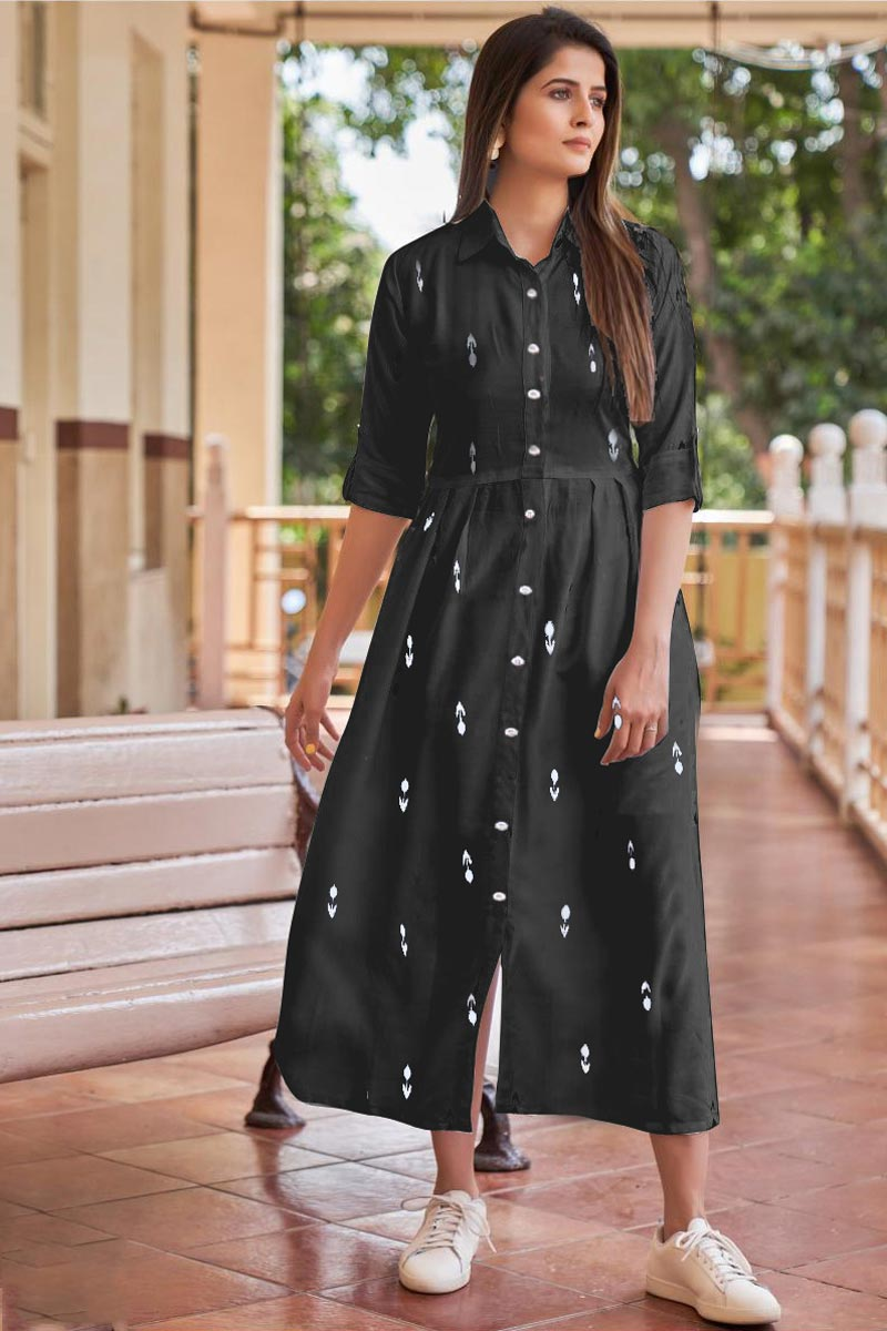 Black Color Rayon Fabric Party Style Designer Western Style Kurti