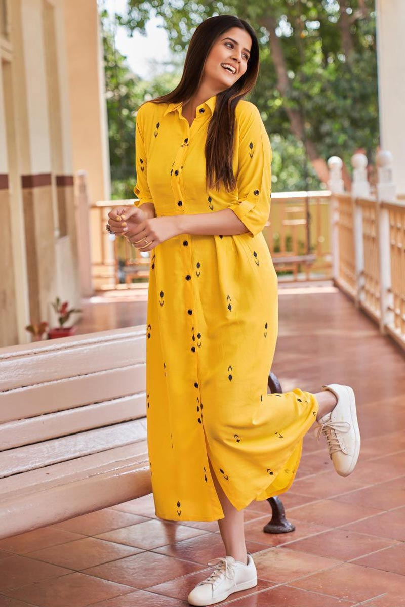 Party Style Designer Yellow Color Western Style Kurti In Rayon Fabric
