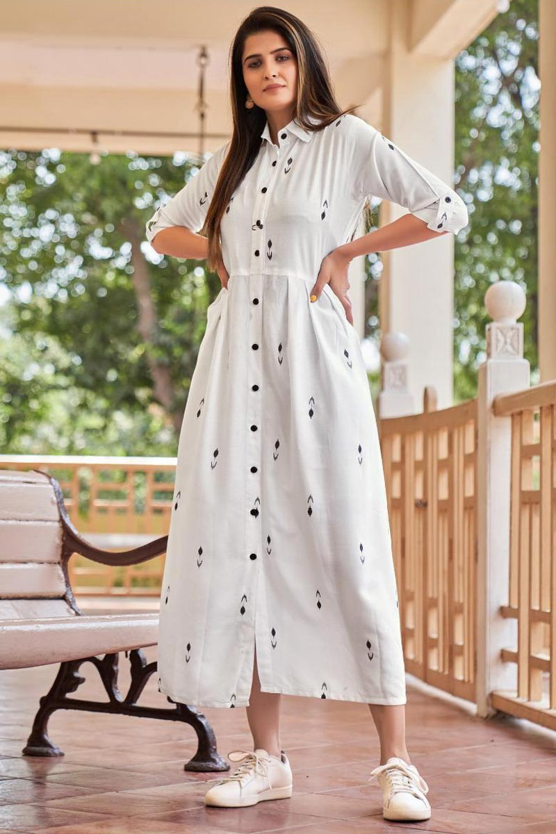 Party Style Designer Rayon Fabric Western Style Kurti In White Color
