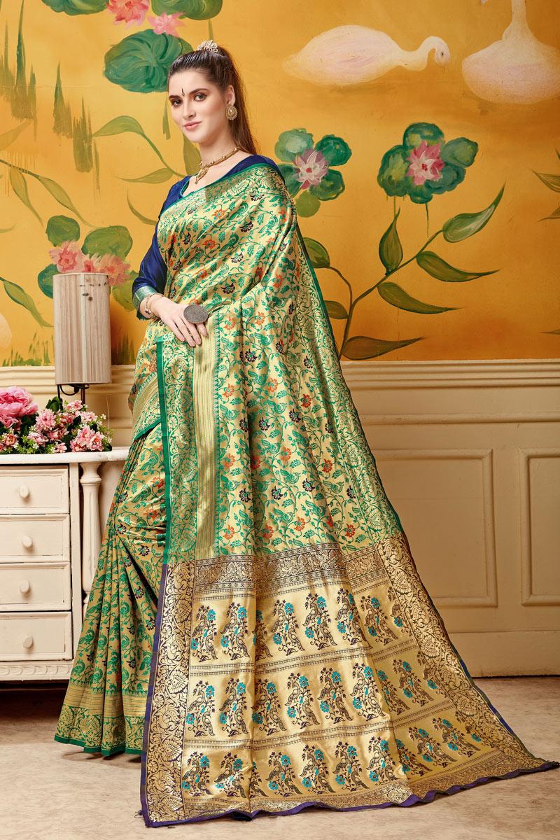 Fancy Weaving Work On Art Silk Designer Saree In Green