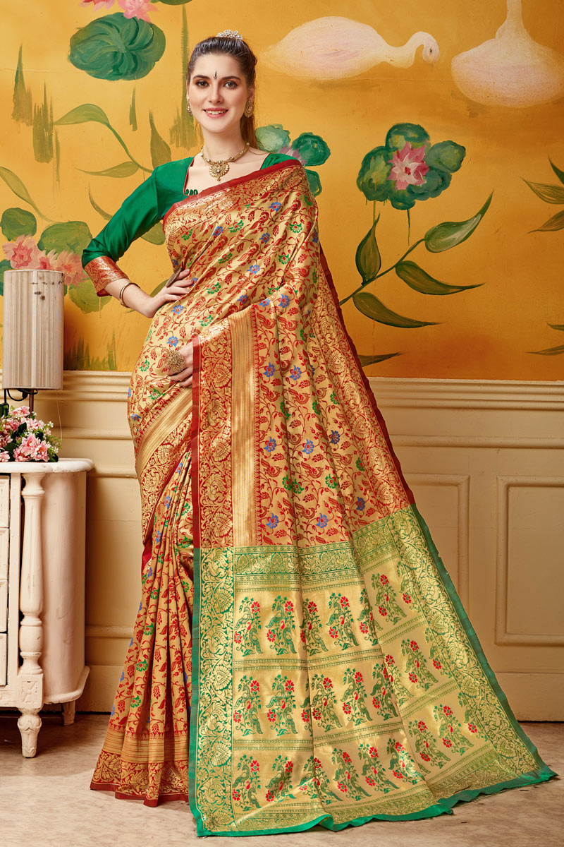 Designer Saree In Art Silk Red Color With Weaving Work