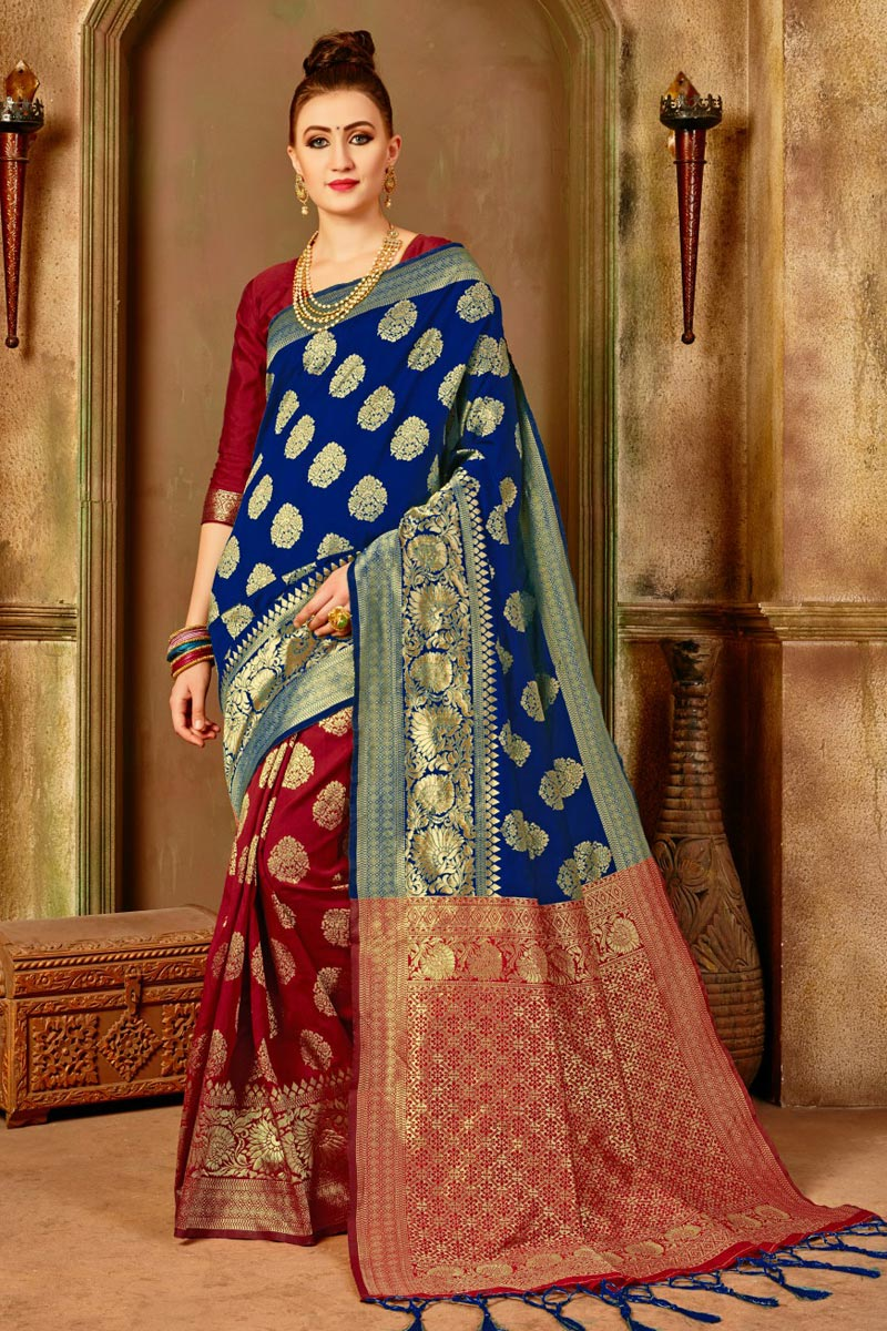 Traditional Fancy Saree In Art Silk Blue Color
