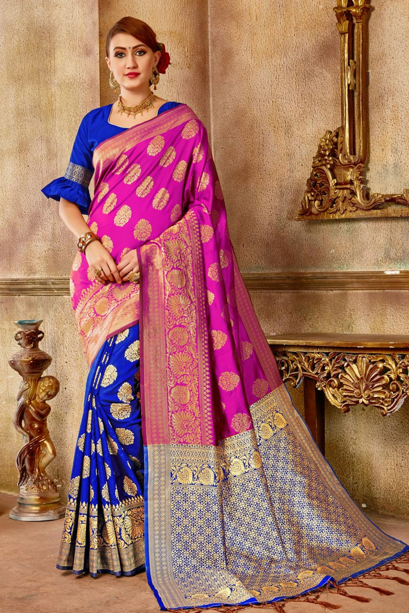 Pink Art Silk Party Wear Traditional Saree