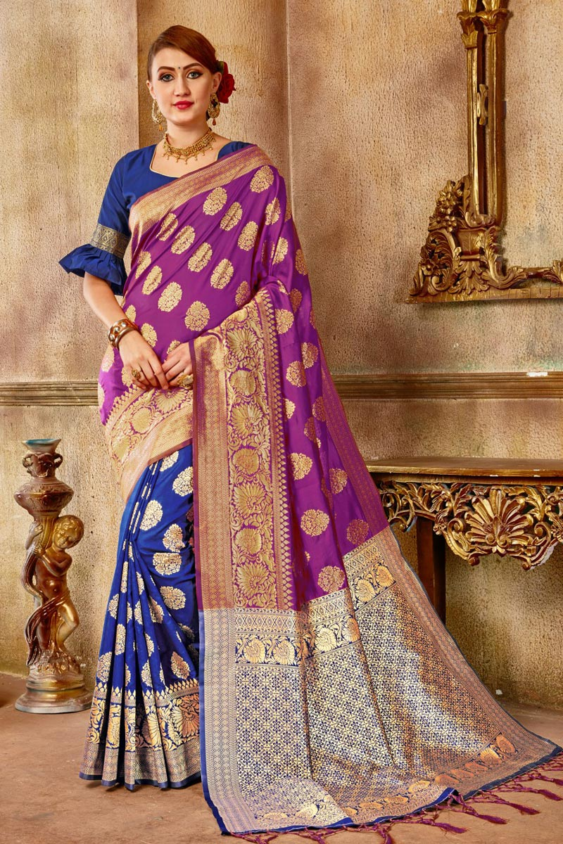 Function Wear Fancy Purple Saree In Art Silk