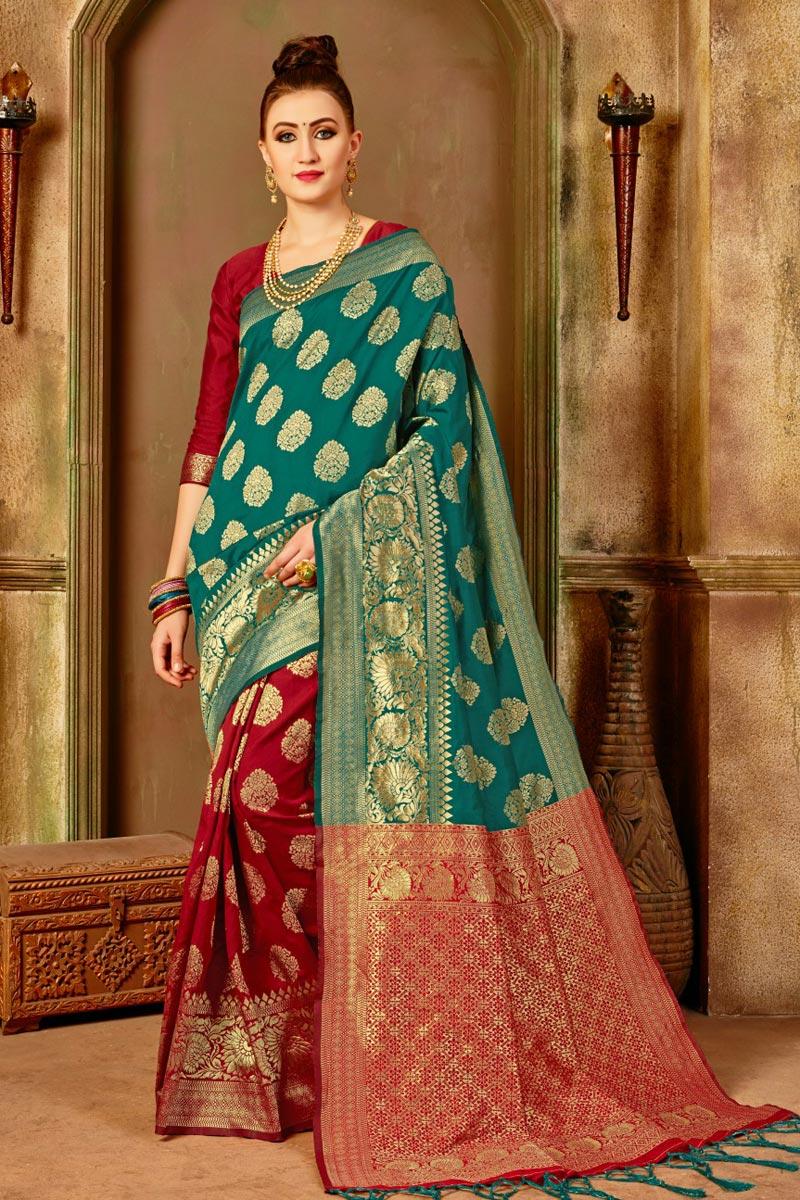 Green Function Wear Fancy Saree In Art Silk