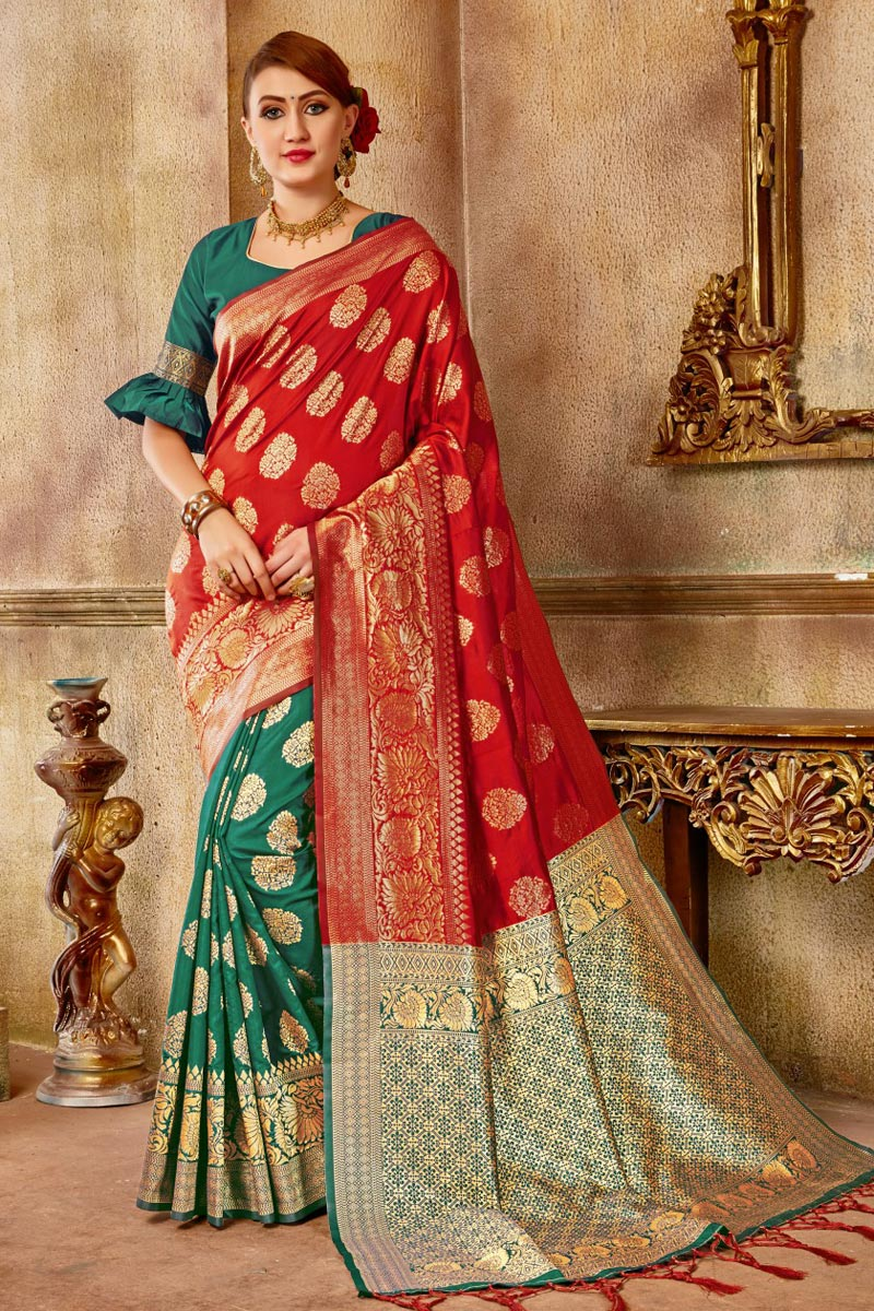 Party Style Red Art Silk Traditional Saree