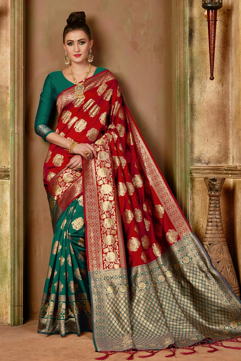 Traditional Fancy Saree In Red Color Art Silk
