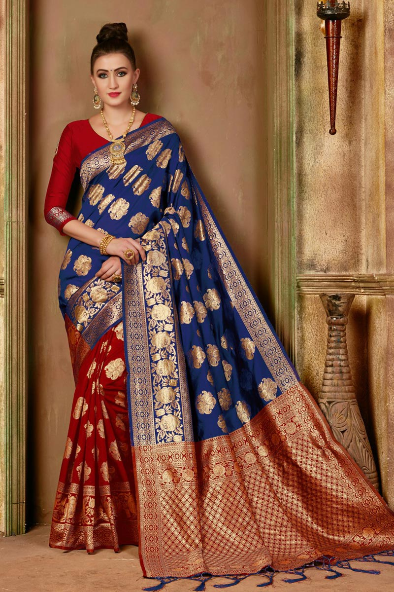 Function Wear Traditional Art Silk Saree In Navy Blue