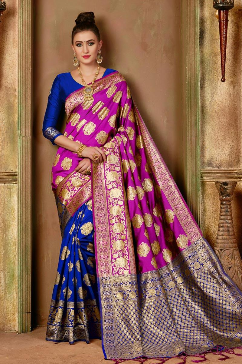 Function Wear Fancy Art Silk Saree In Pink