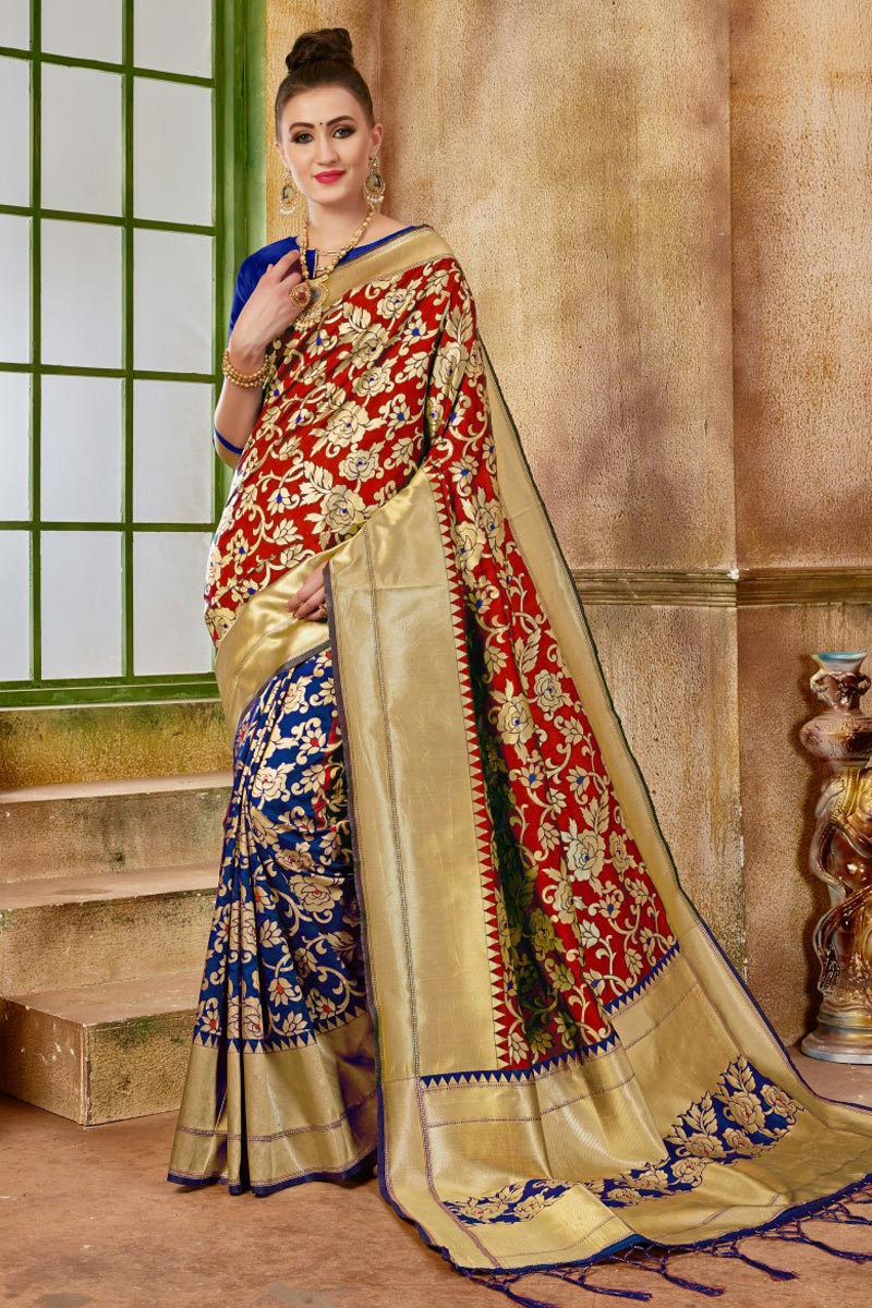 Function Wear Traditional Red Fancy Saree In Art Silk