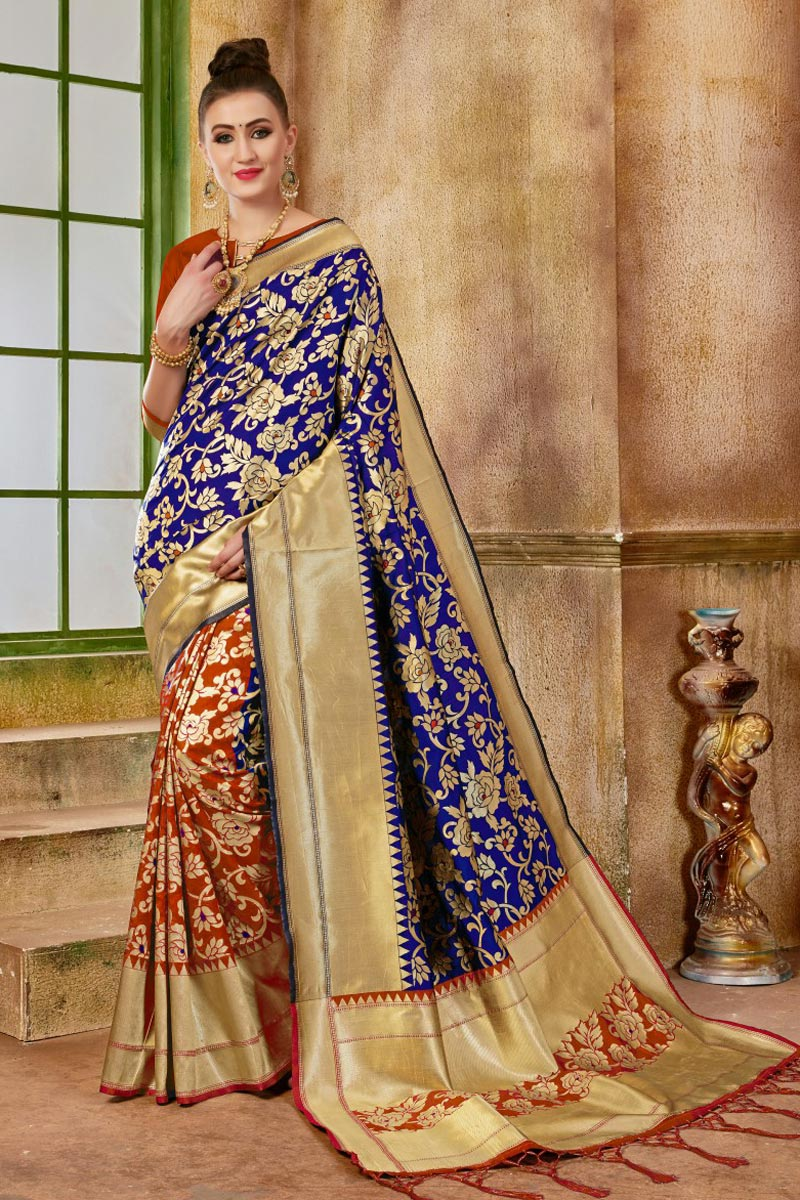 Navy Blue Fancy Art Silk Party Wear Traditional Saree