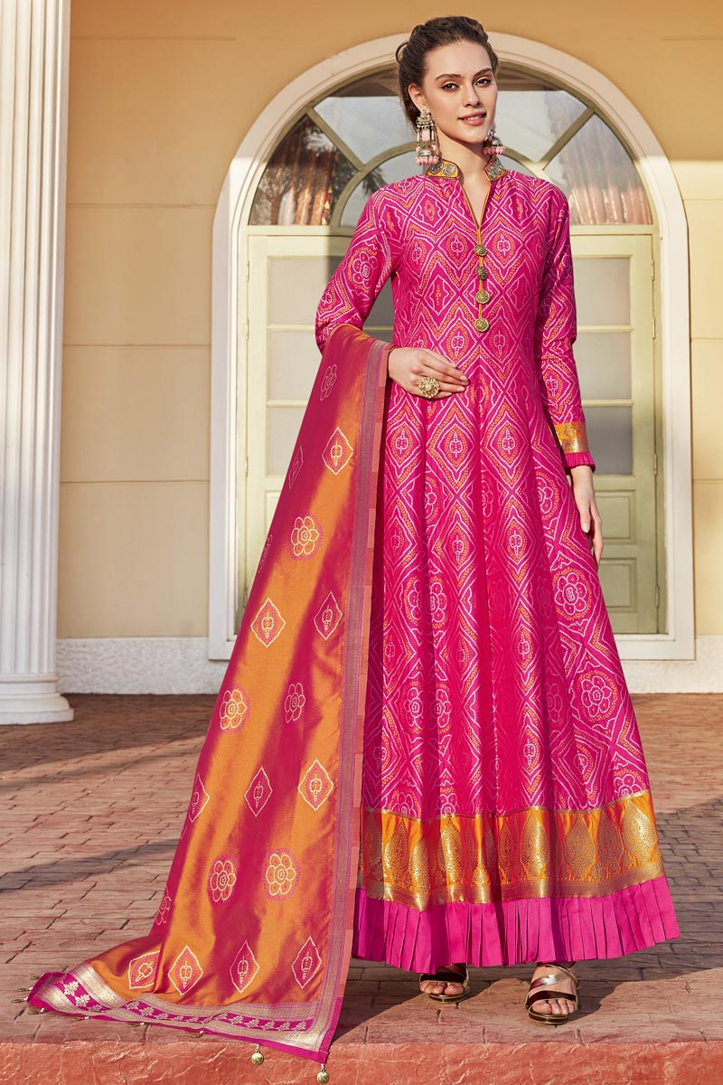 Rani Color Weaving Work Readymade Anarkali Salwar Kameez
