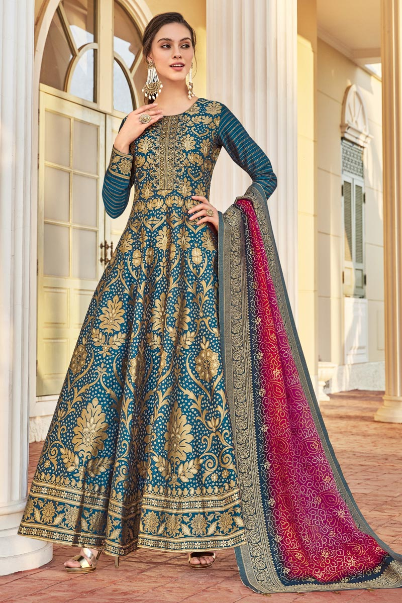 Jacquard Fabric Party Wear Readymade Anarkali Salwar Suit