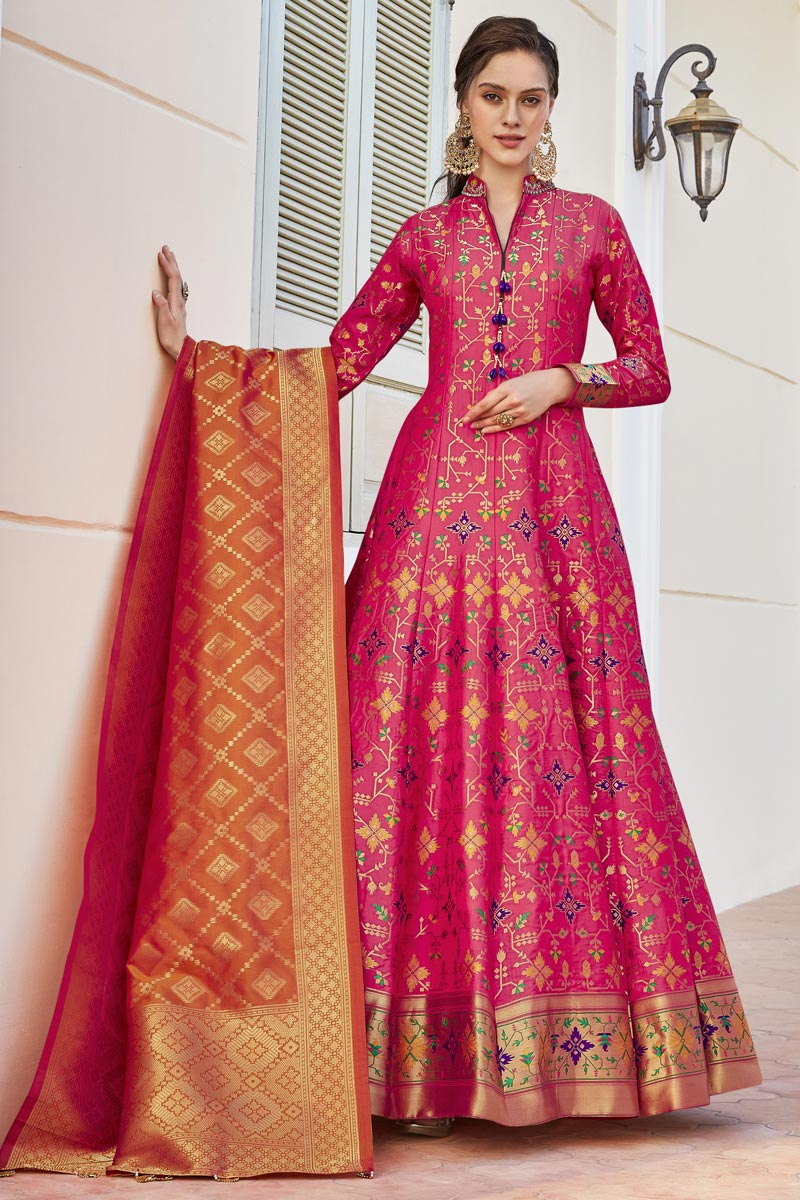 Pink Color Jacquard Fabric Function Wear Weaving Work Readymade Anarkali Suit