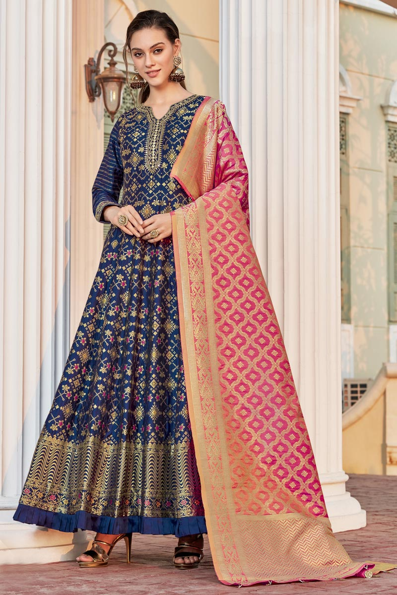 Occasion Wear Navy Blue Color Weaving Work Readymade Anarkali Salwar Kameez