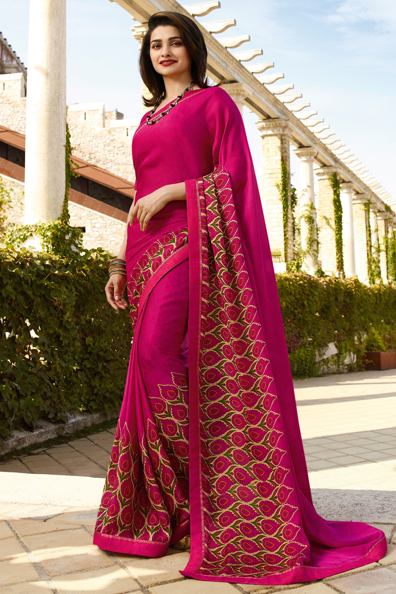 Prachi Desai Rani Color Regular Wear Fancy Fabric Printed Saree
