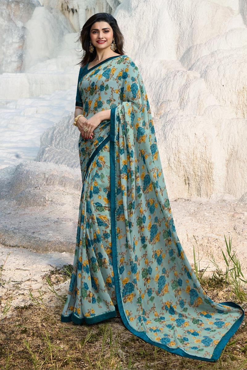 Prachi Desai Dark Teal Color Casual Wear Printed Saree In Fancy Fabric