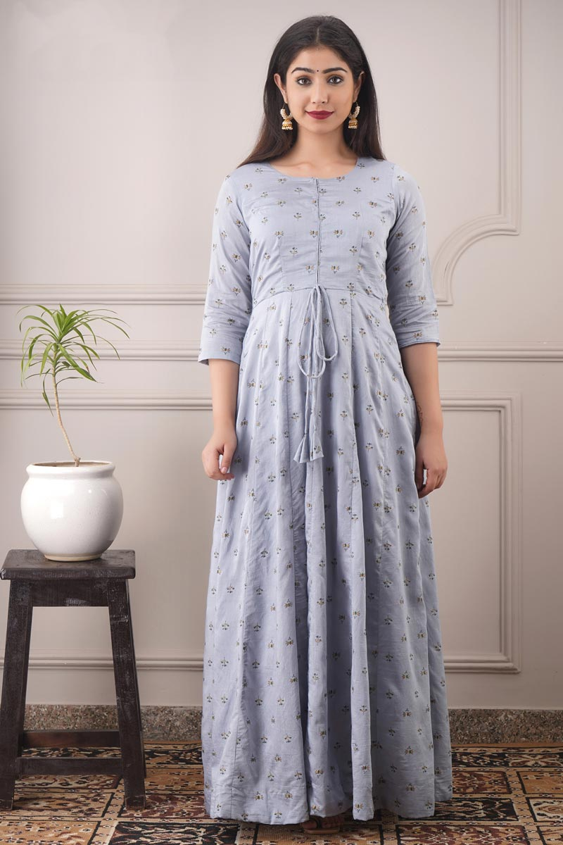 Designer Party Style Chanderi Fabric Grey Color Printed Readymade Gown