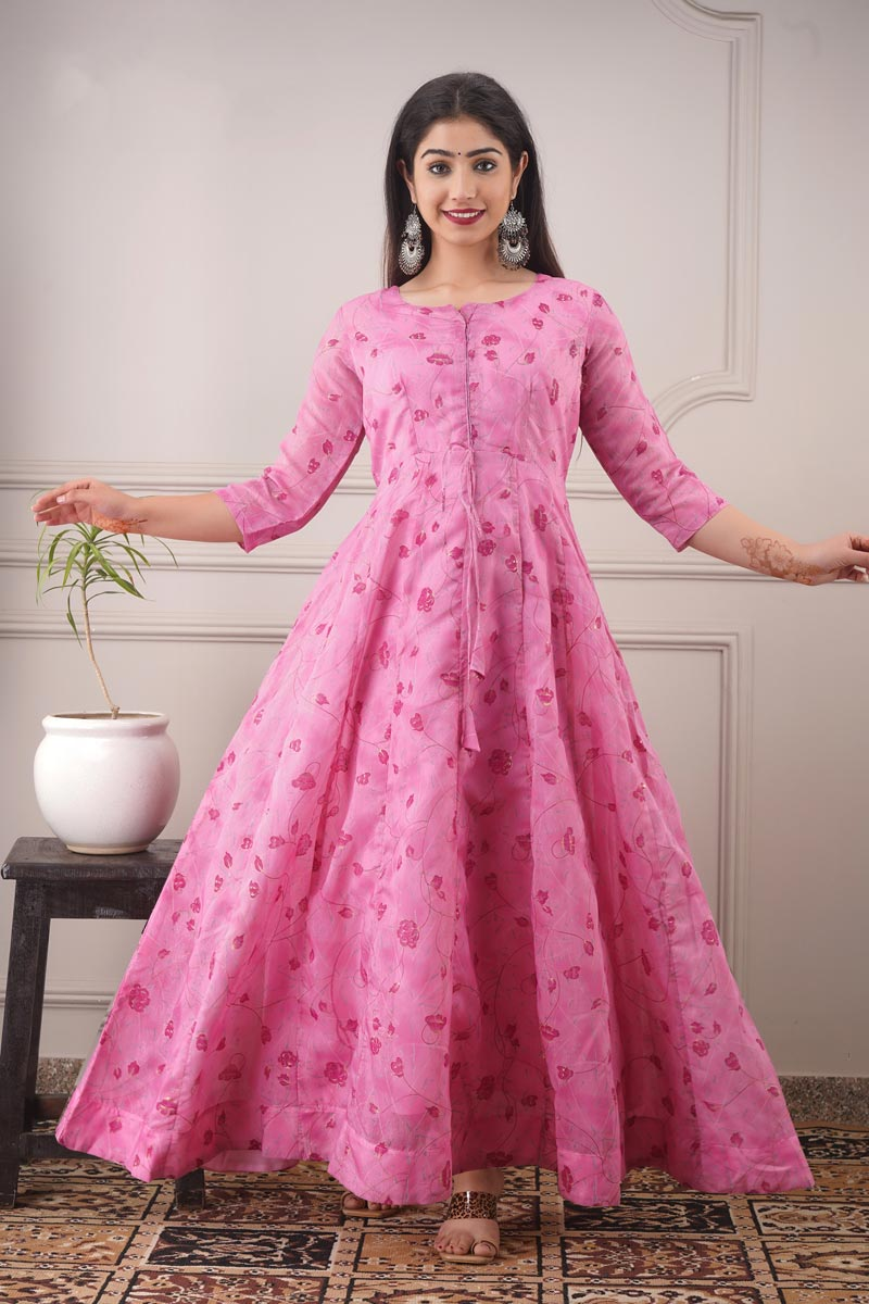 Designer Pink Color Party Style Printed Chanderi Fabric Readymade Gown