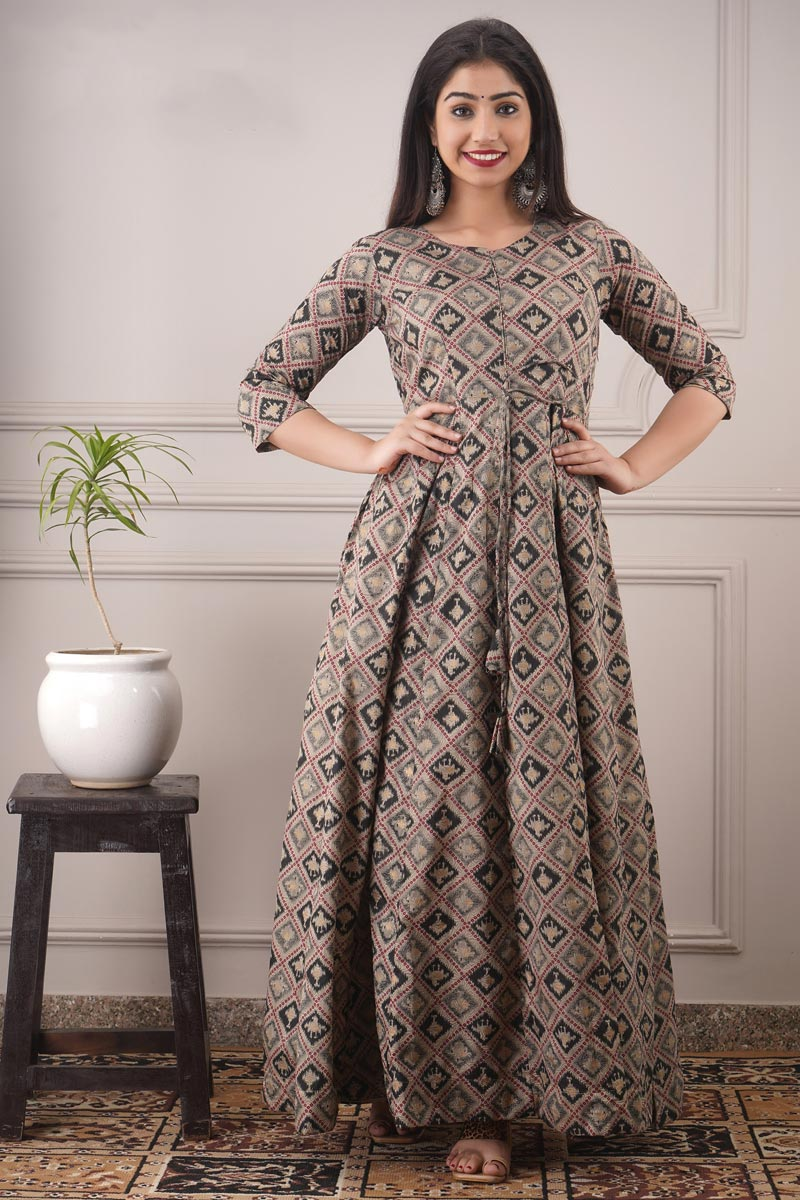 Chanderi Fabric Party Style Designer Printed Readymade Gown In Black Color