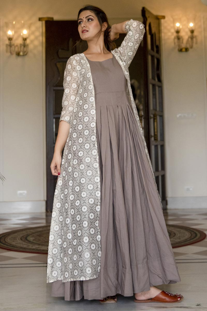 Designer Party Style Fancy Fabric Dark Beige Color Embroidered Readymade Gown