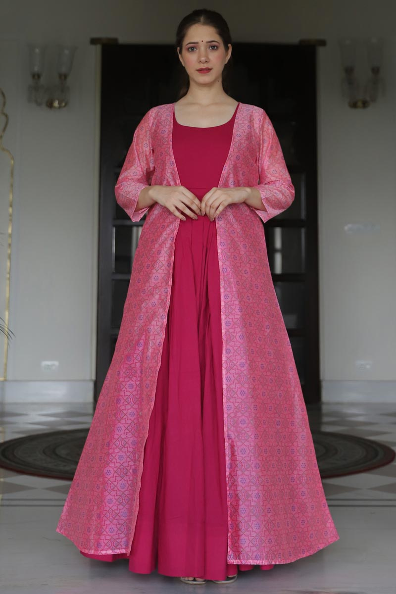 Designer Rani Color Party Style Embroidered Fancy Fabric Readymade Gown