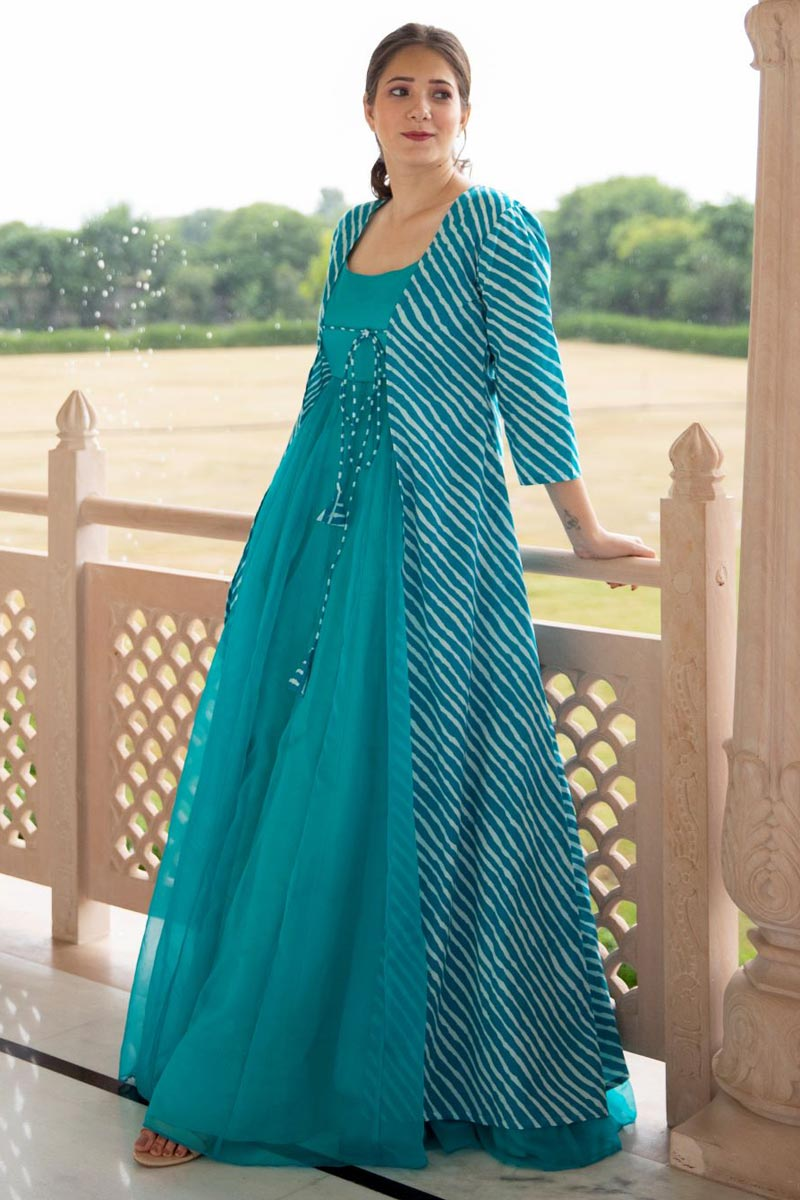 Fancy Fabric Party Style Designer Embroidered Readymade Gown In Cyan Color