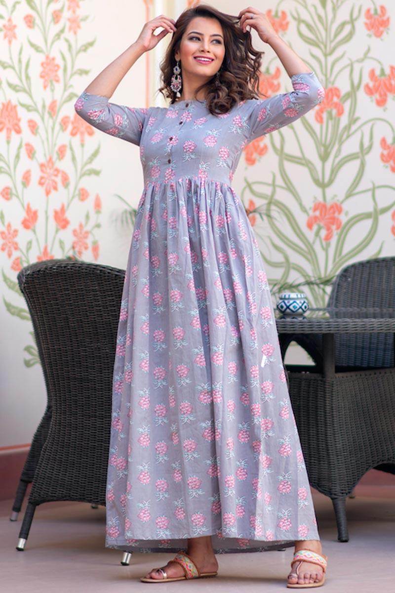 Lavender Color Festive Wear Fancy Fabric Digital Print Gown