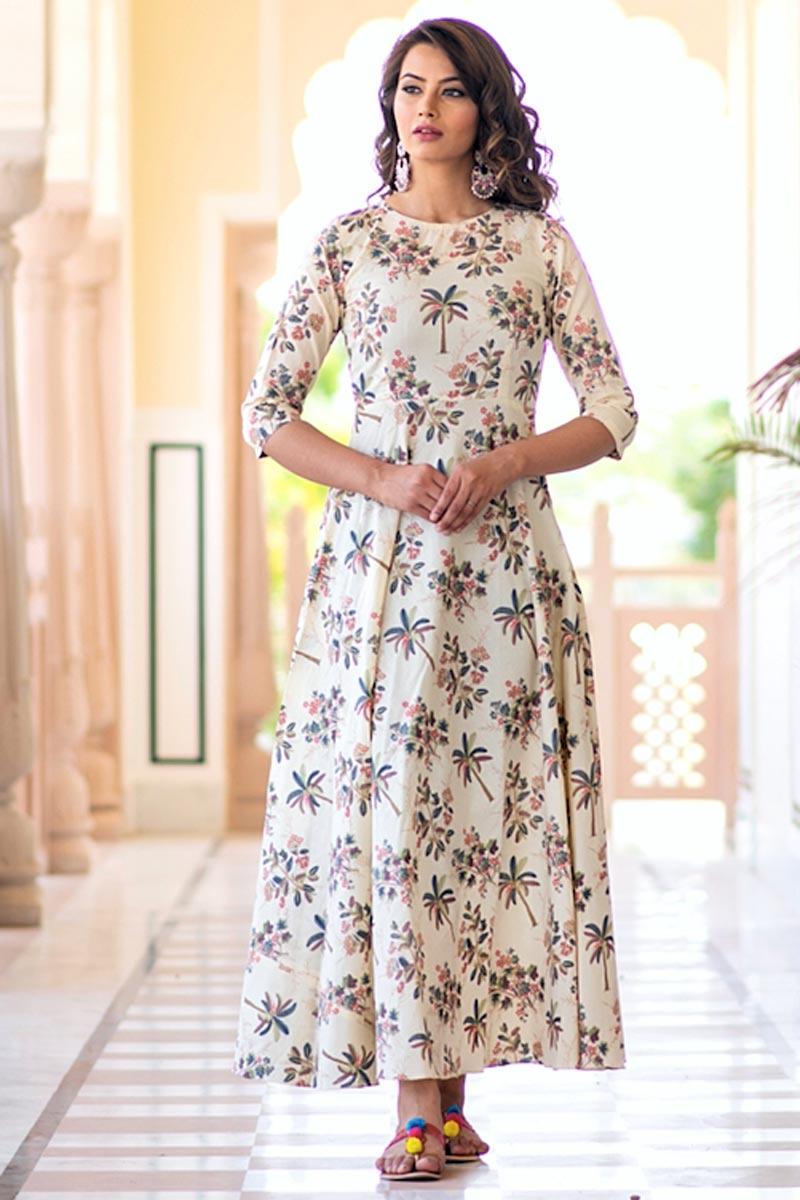 Festive Wear Digital Print Cream Gown In Fancy Fabric