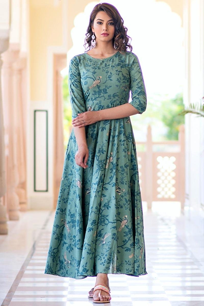Fancy Fabric Cyan Festive Wear Digital Print Gown